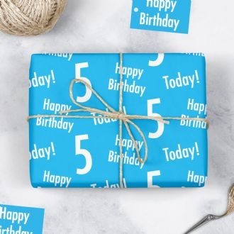 5th Birthday Blue Gift Wrapping Paper & Gift Tags (1 Sheet & 2 Tags) - 'Happy Birthday' - '5 Today!'